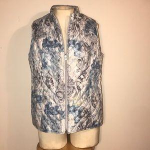Zenergy Chico's reversible blue gray floral vest 1